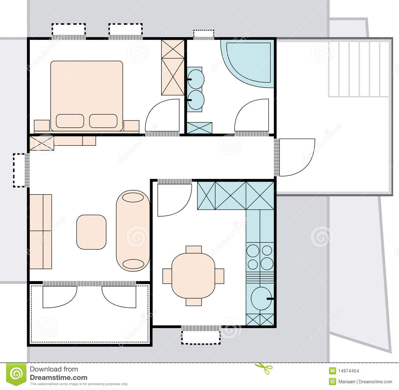 Plan d 39 architecture d 39 appartement illustration stock for Plan appartement