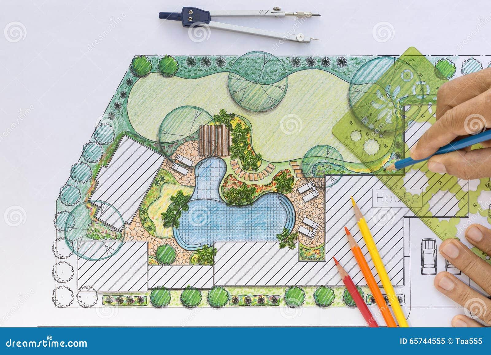 plan d 39 arri re cour de conception d 39 architecte paysagiste image stock image 65744555. Black Bedroom Furniture Sets. Home Design Ideas