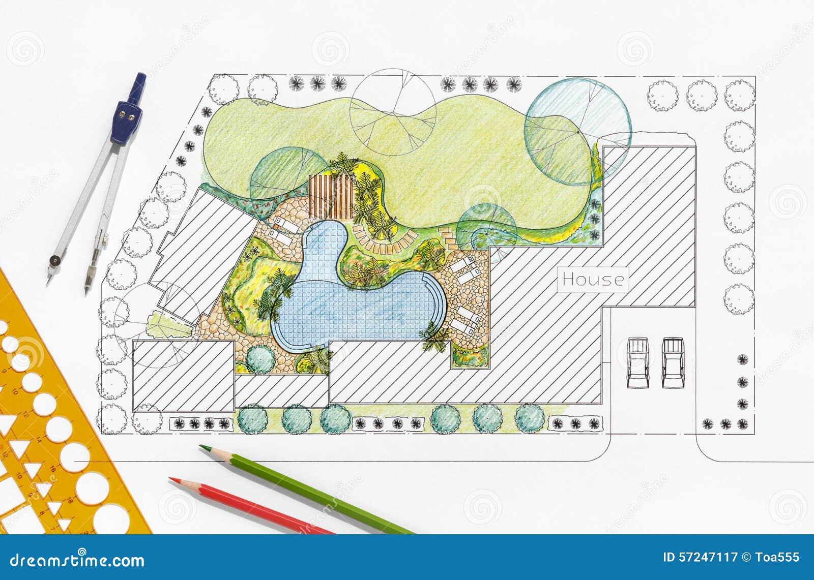 plan d 39 arri re cour de conception d 39 architecte paysagiste pour la villa image stock image. Black Bedroom Furniture Sets. Home Design Ideas