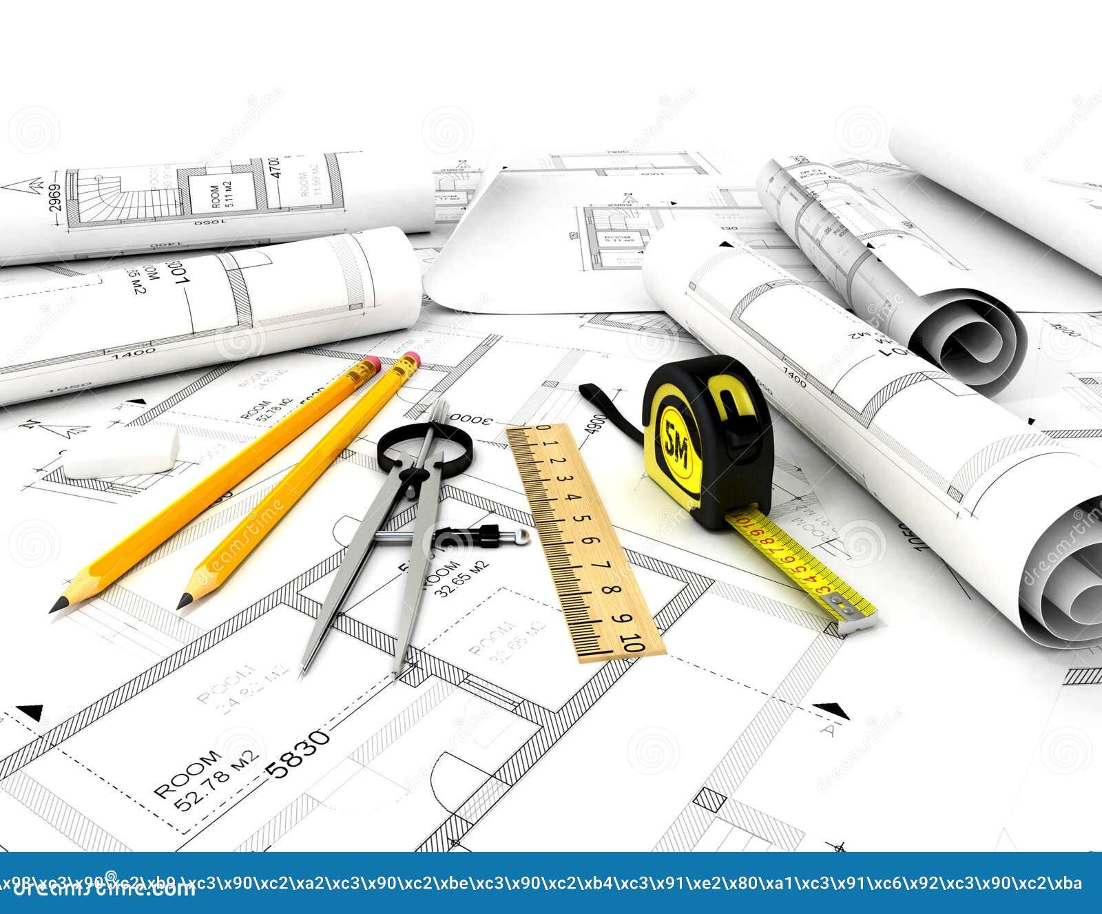 plan de construction avec l 39 chelle et le crayon photos. Black Bedroom Furniture Sets. Home Design Ideas