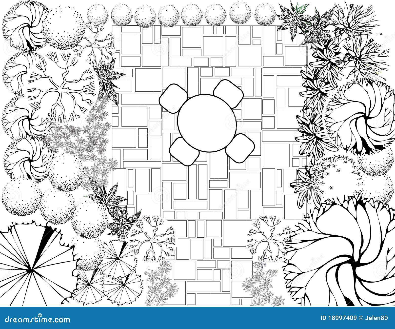 Plan de jardin noir et blanc images libres de droits for Plan jardin