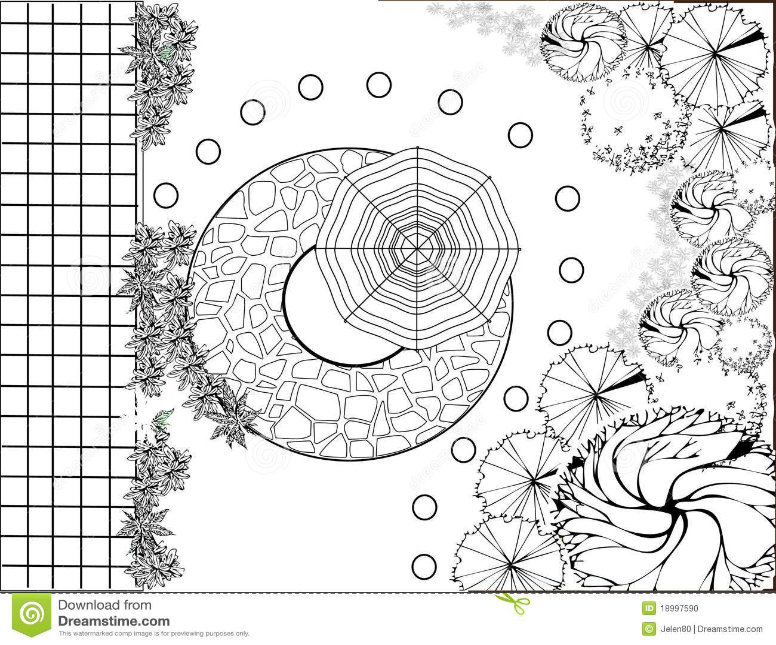 Plan de jardin noir et blanc illustration de vecteur for Plan jardin