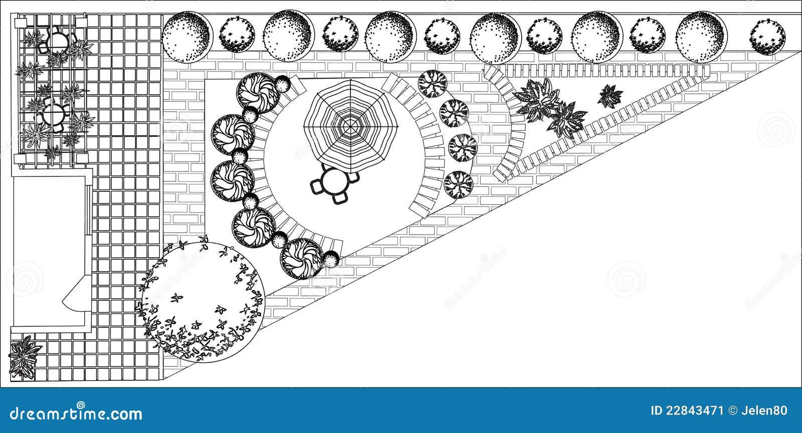 plan de jardin noir et blanc illustration de vecteur illustration du herbe vert 22843471. Black Bedroom Furniture Sets. Home Design Ideas
