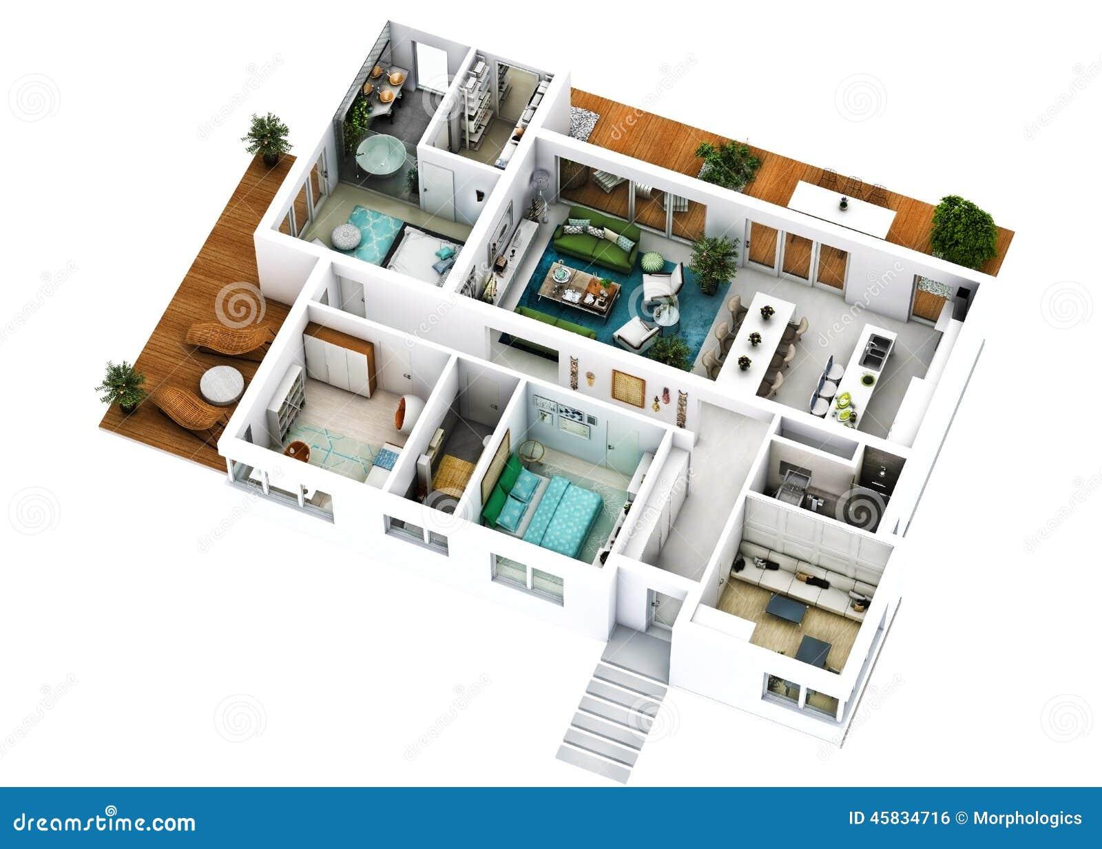 Bien-aimé Plan De L'étage 3D Photo stock - Image: 45834716 RI66