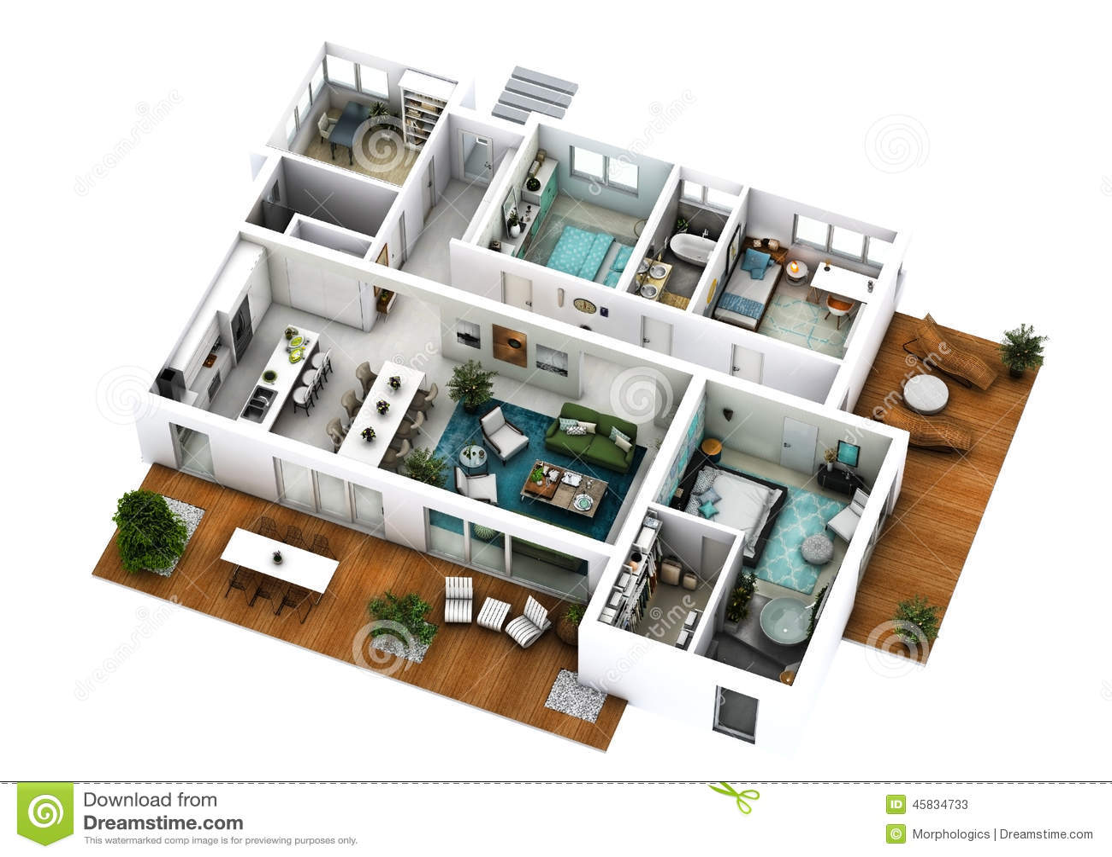 Bien-aimé Plan de l'étage 3D image stock. Image du décoration, balcon - 45834733 RI66