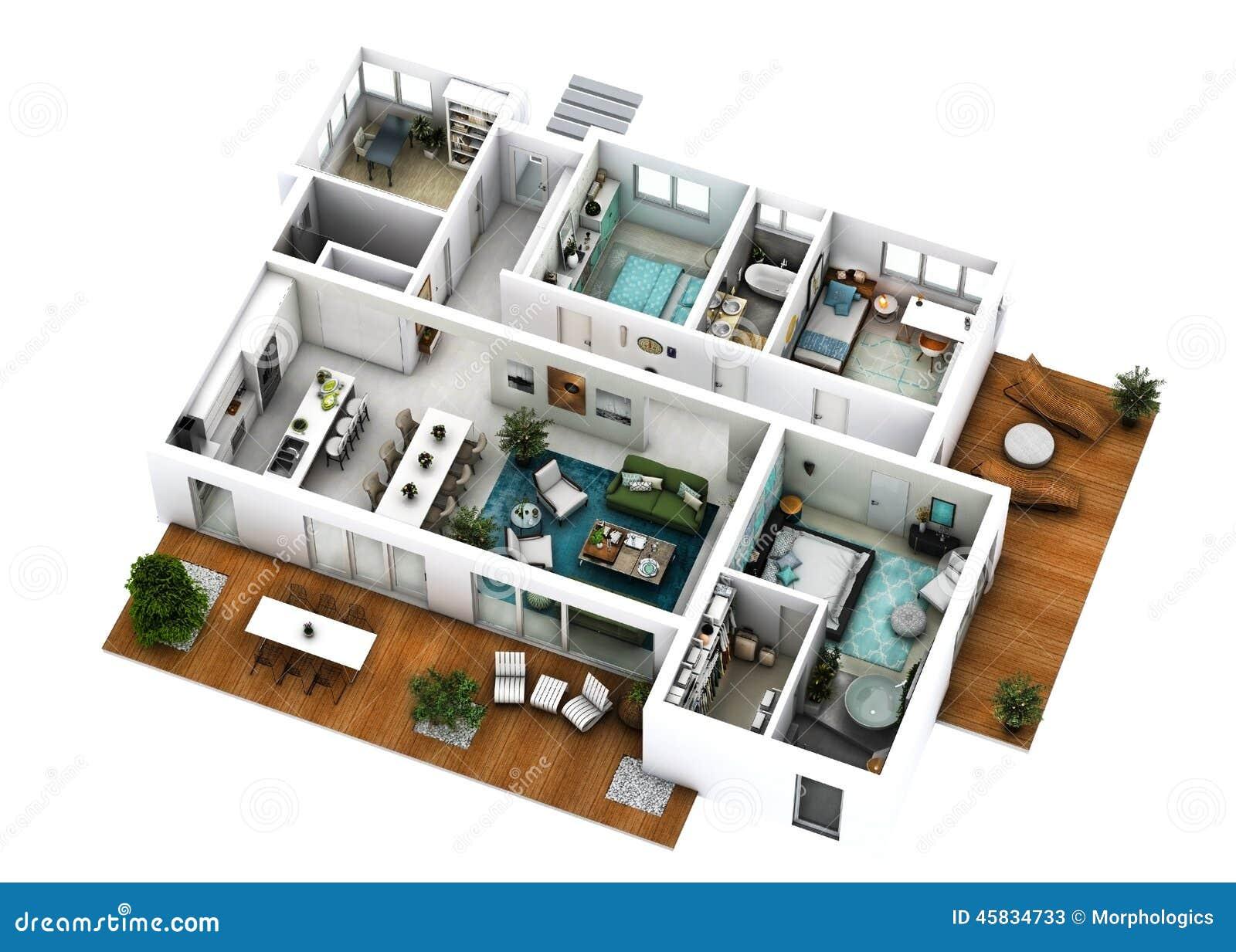 Plan de l 39 tage 3d image stock image du d coration for Plan maison etage 3d