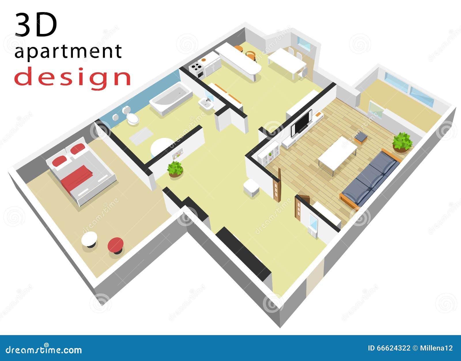 plan de l tage 3d isomtrique pour l appartement illustration de vecteur d intrieur isomtrique moderne
