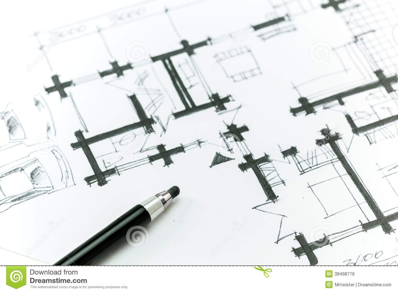 plan de maison de croquis illustration stock image 39498779