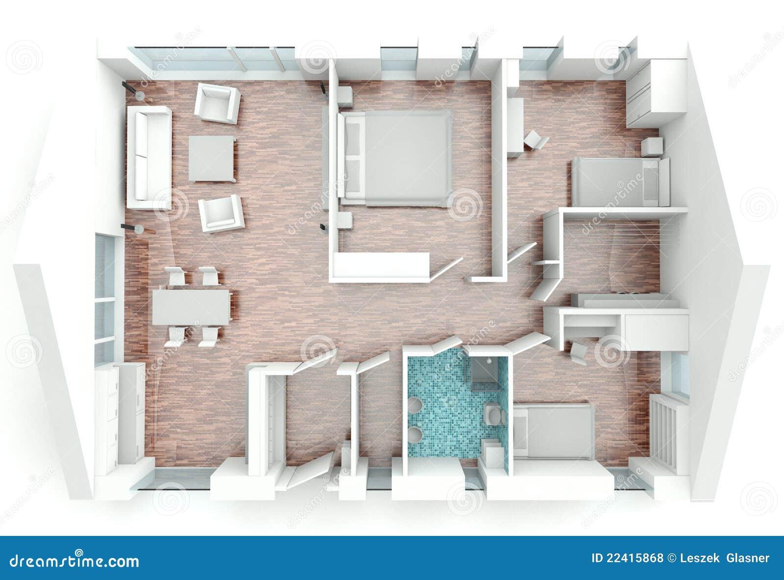 Plan de maison du rendu 3d
