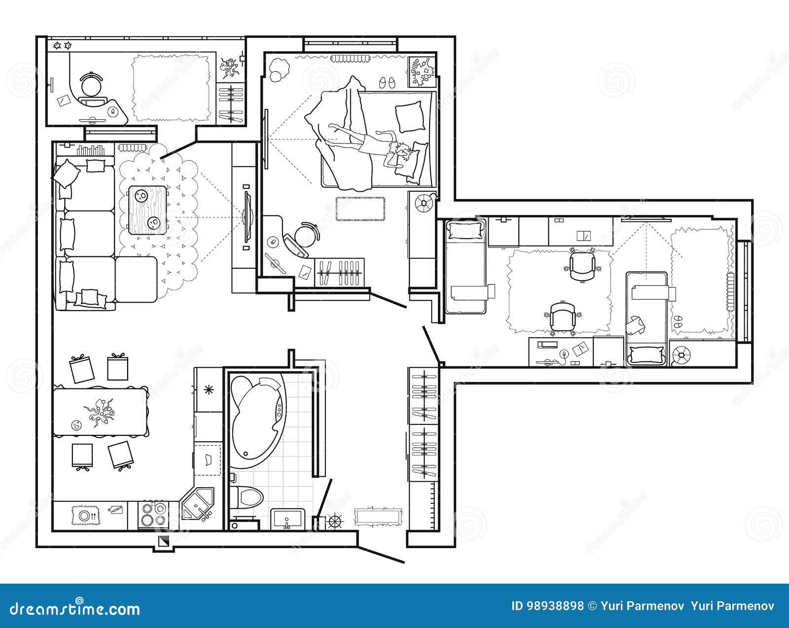 Plan de piso con muebles en la visión superior Sistema arquitectónico de la línea fina iconos de los muebles Disposición detallad