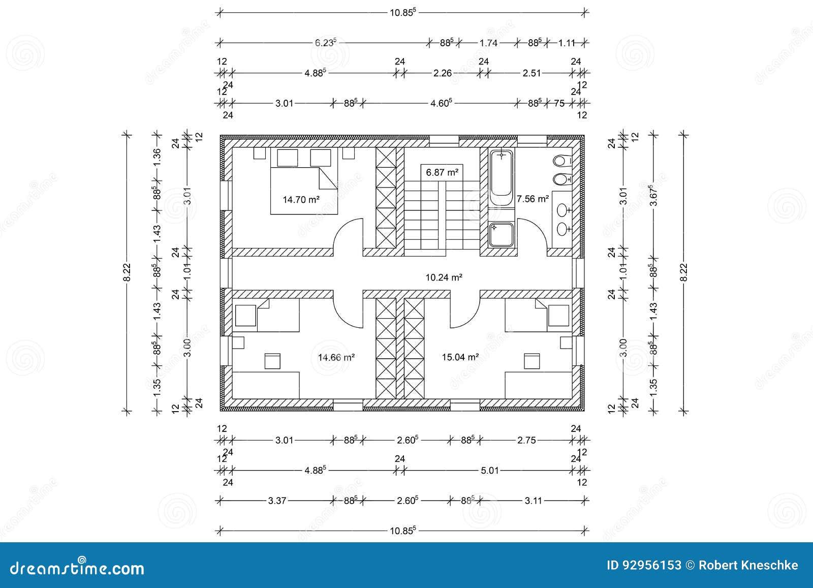 Plan De Piso De La Casa Como Dibujo Arquitectonico Stock De