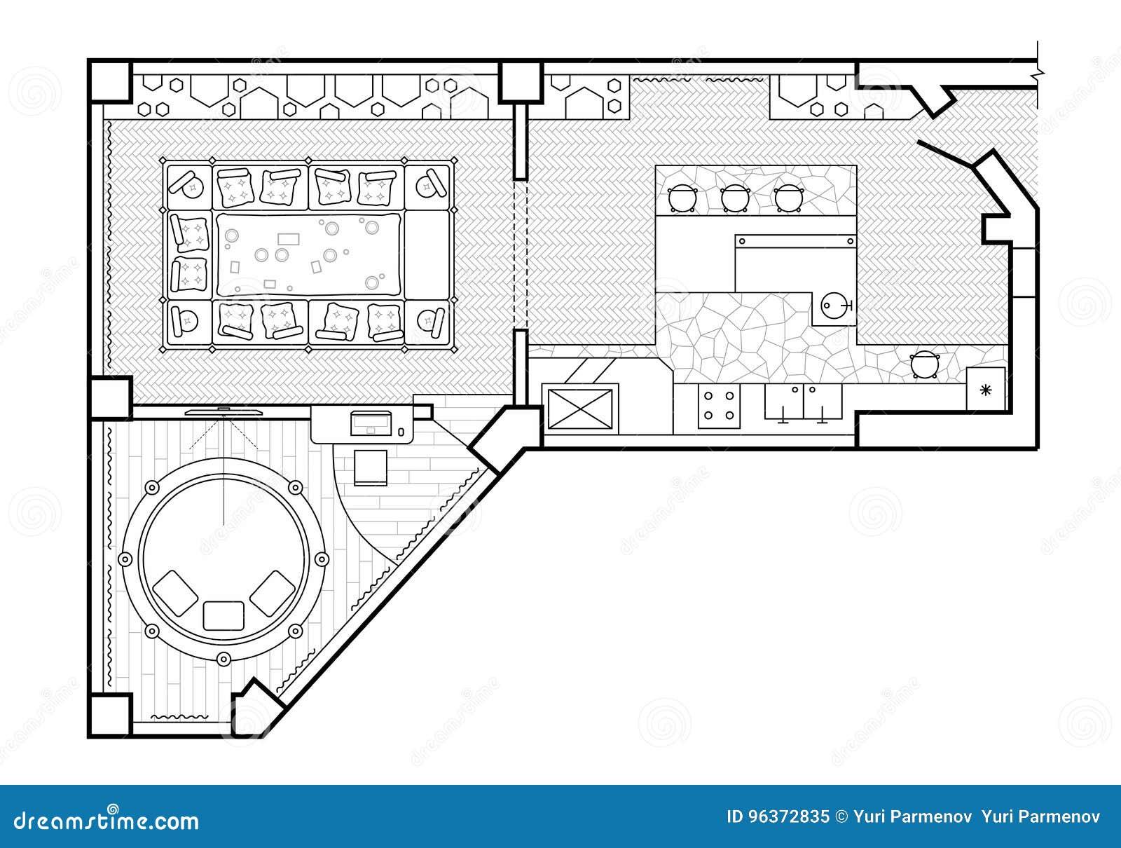 Plan De Piso Visión Superior La Terraza Del Diseño Interior