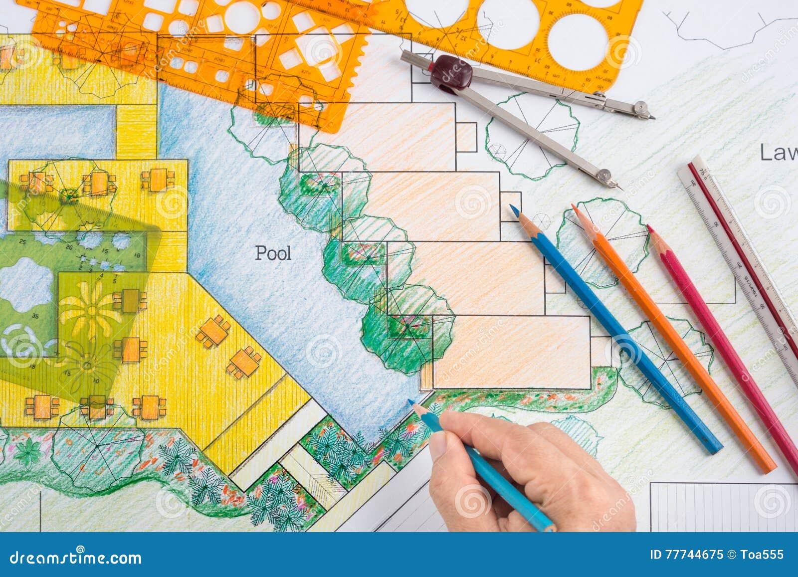 plan de station de vacances d 39 h tel de design d 39 architecte paysagiste image stock image du. Black Bedroom Furniture Sets. Home Design Ideas