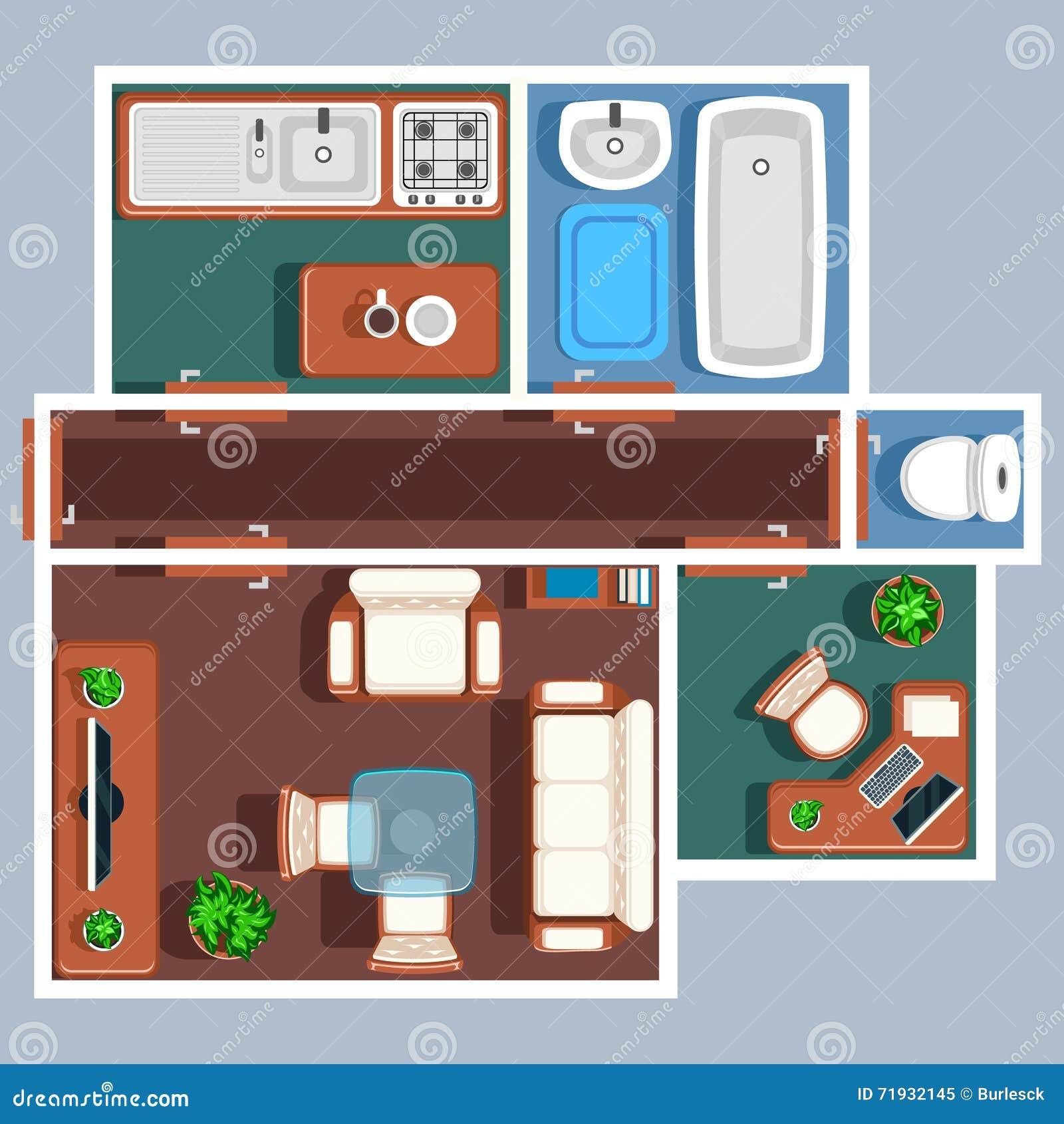 plan de vecteur de plancher d 39 appartement avec des meubles. Black Bedroom Furniture Sets. Home Design Ideas