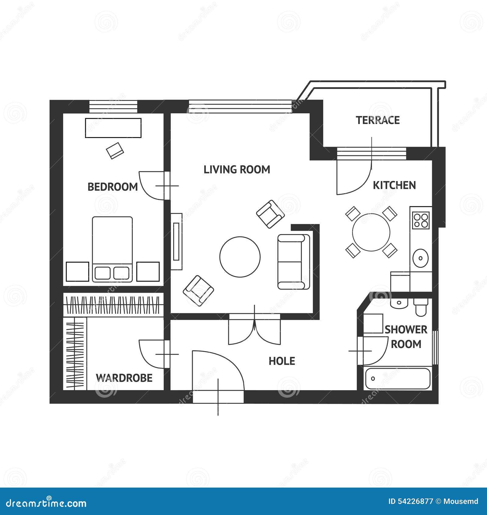 Plan del arquitecto del vector con muebles planos for Medidas de muebles para planos arquitectonicos