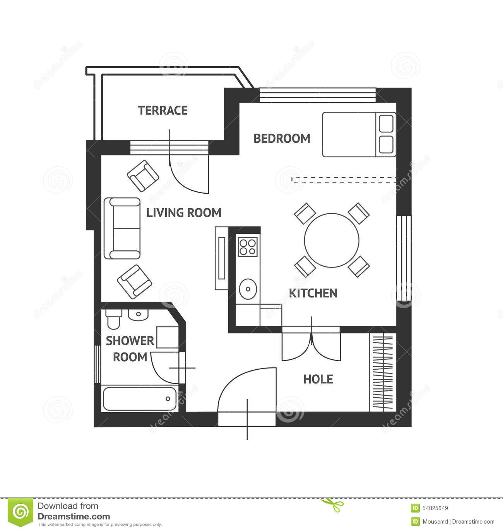 Plan Del Arquitecto Del Vector Con Muebles Planos