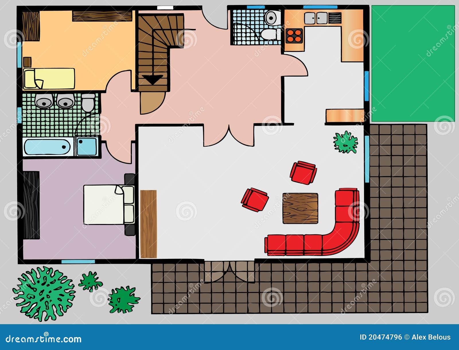 Plan der wohnung die draufsicht lizenzfreies stockbild for Wohnung designer programm