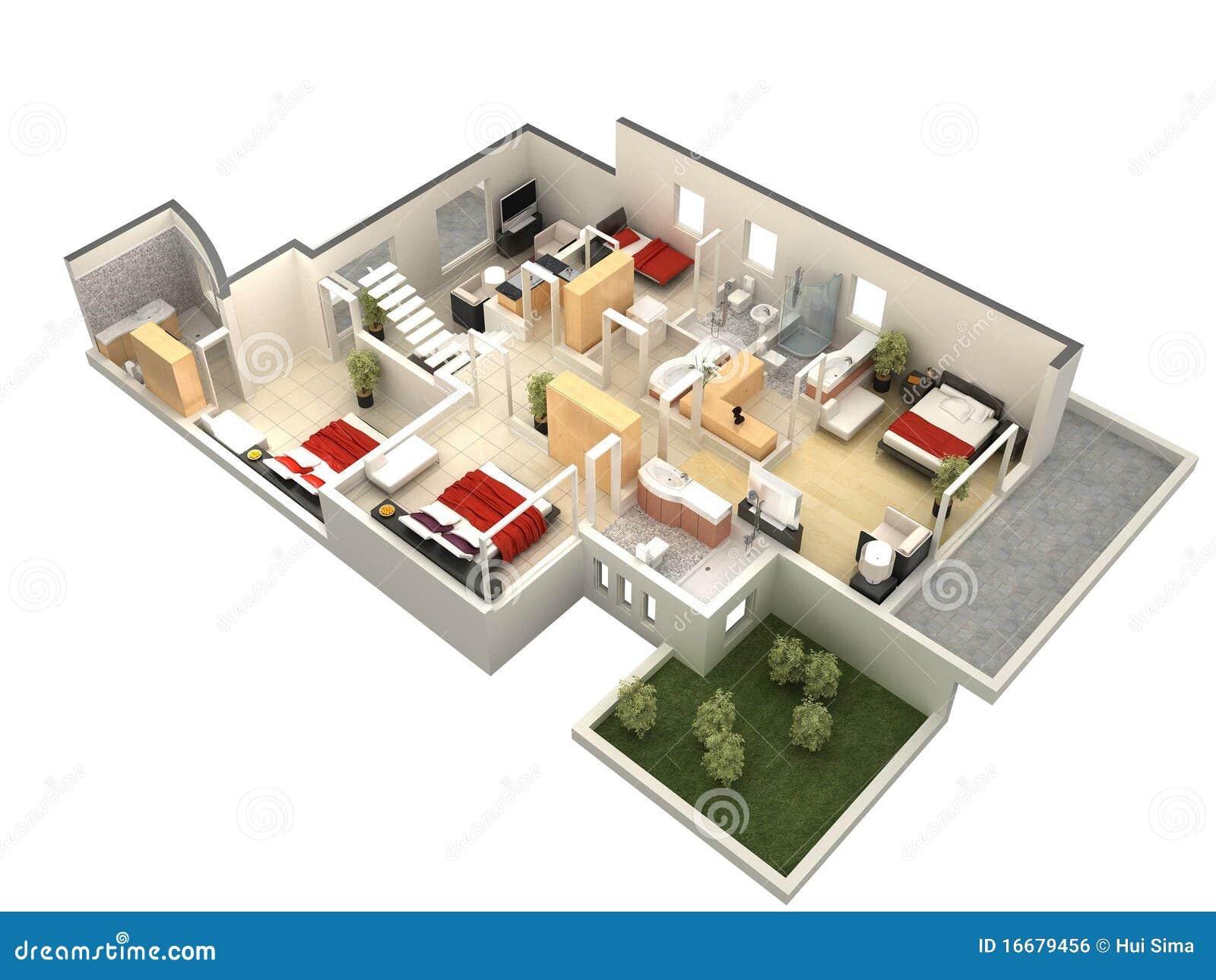 Moderne villa grundriss 3d  Grundriss 3d Lizenzfreie Stockfotografie - Bild: 37626497