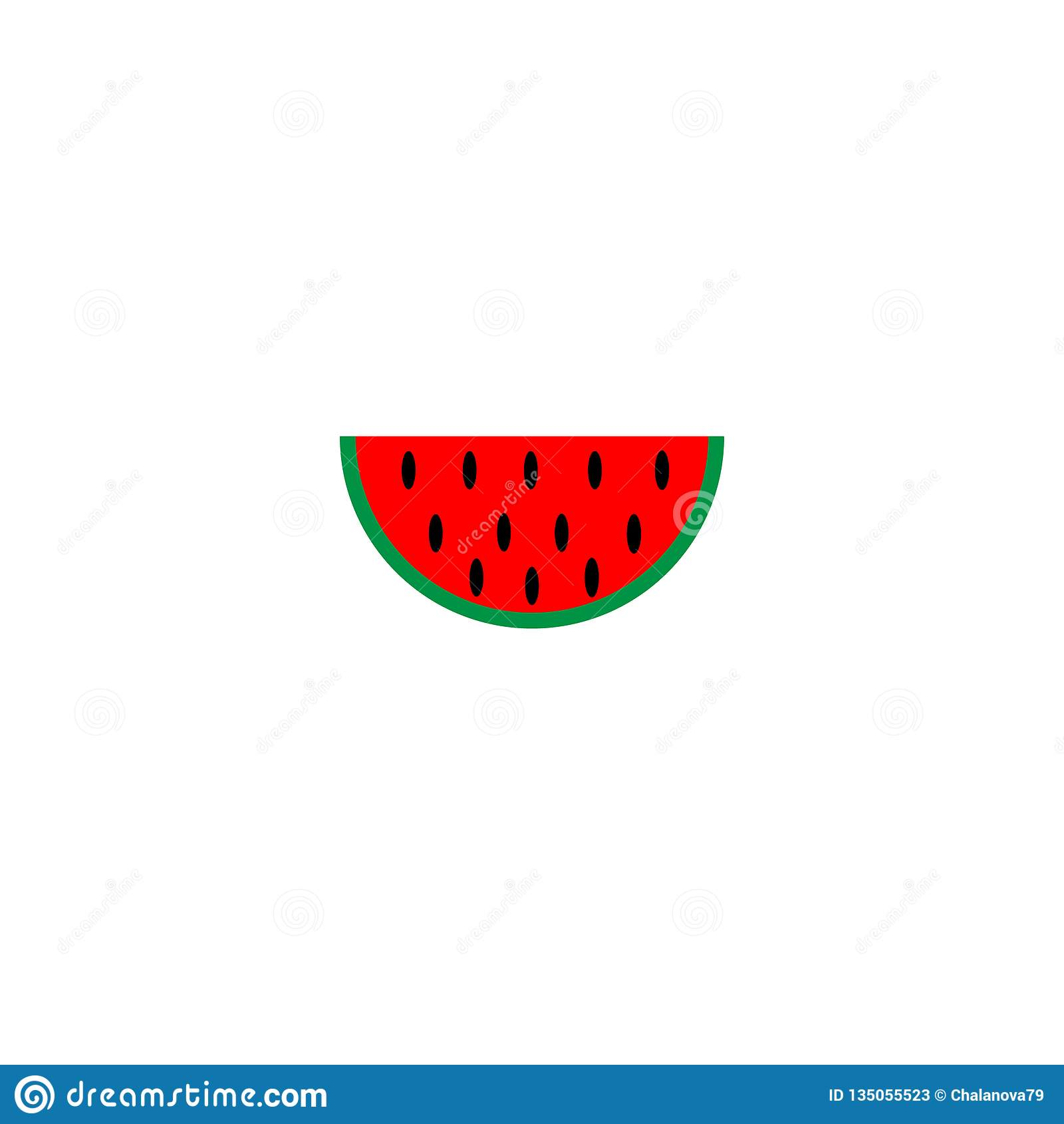 Plan design för vattenmelonvektorsymbol på vit tillbaka jordning