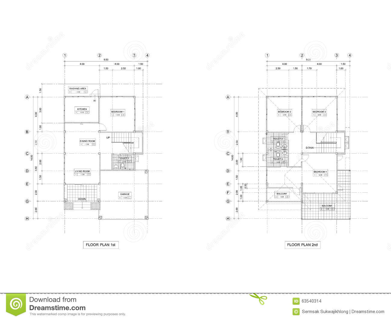 Plan Drawing House Stock Photo Image 63540314