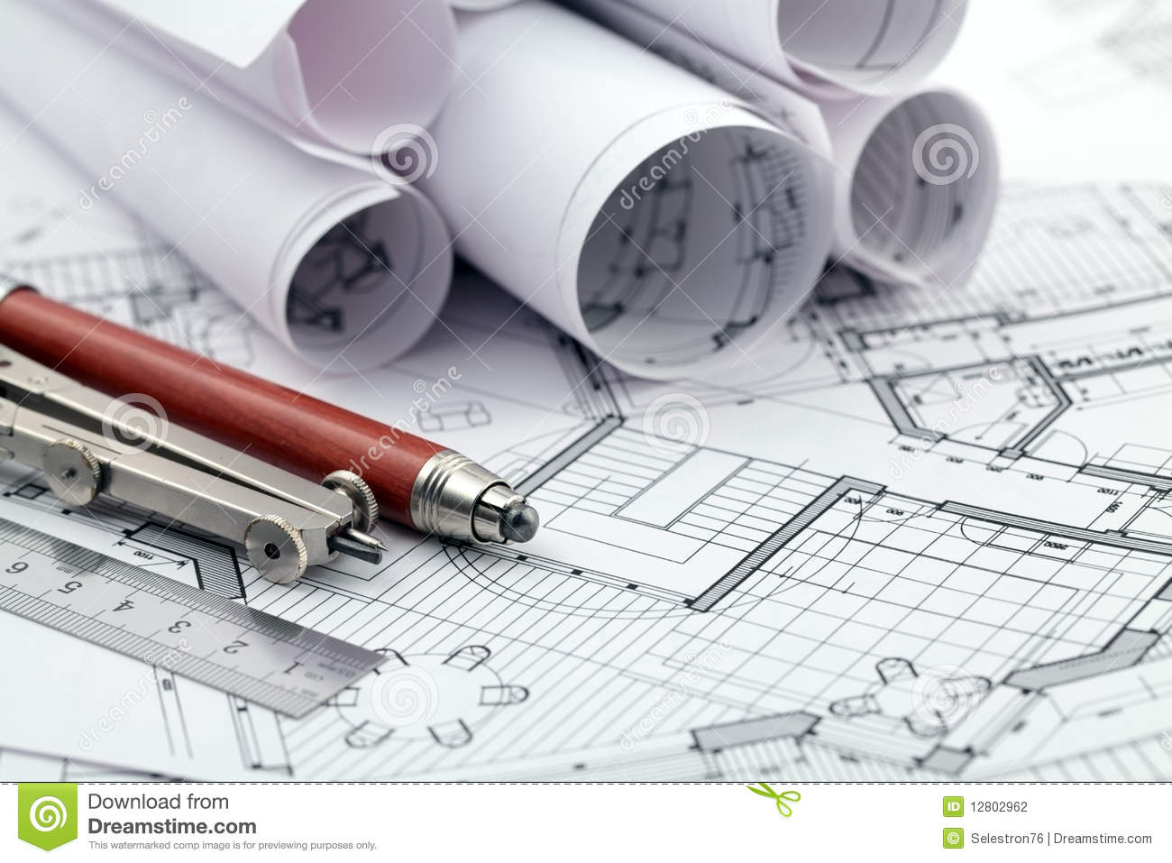 plan et outils d 39 architecture photo stock image du home