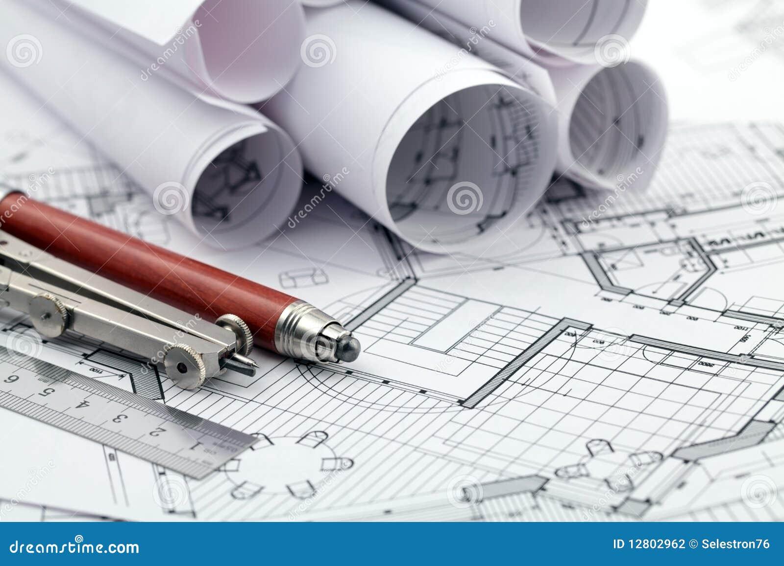 plan et outils d 39 architecture photographie stock image 12802962. Black Bedroom Furniture Sets. Home Design Ideas