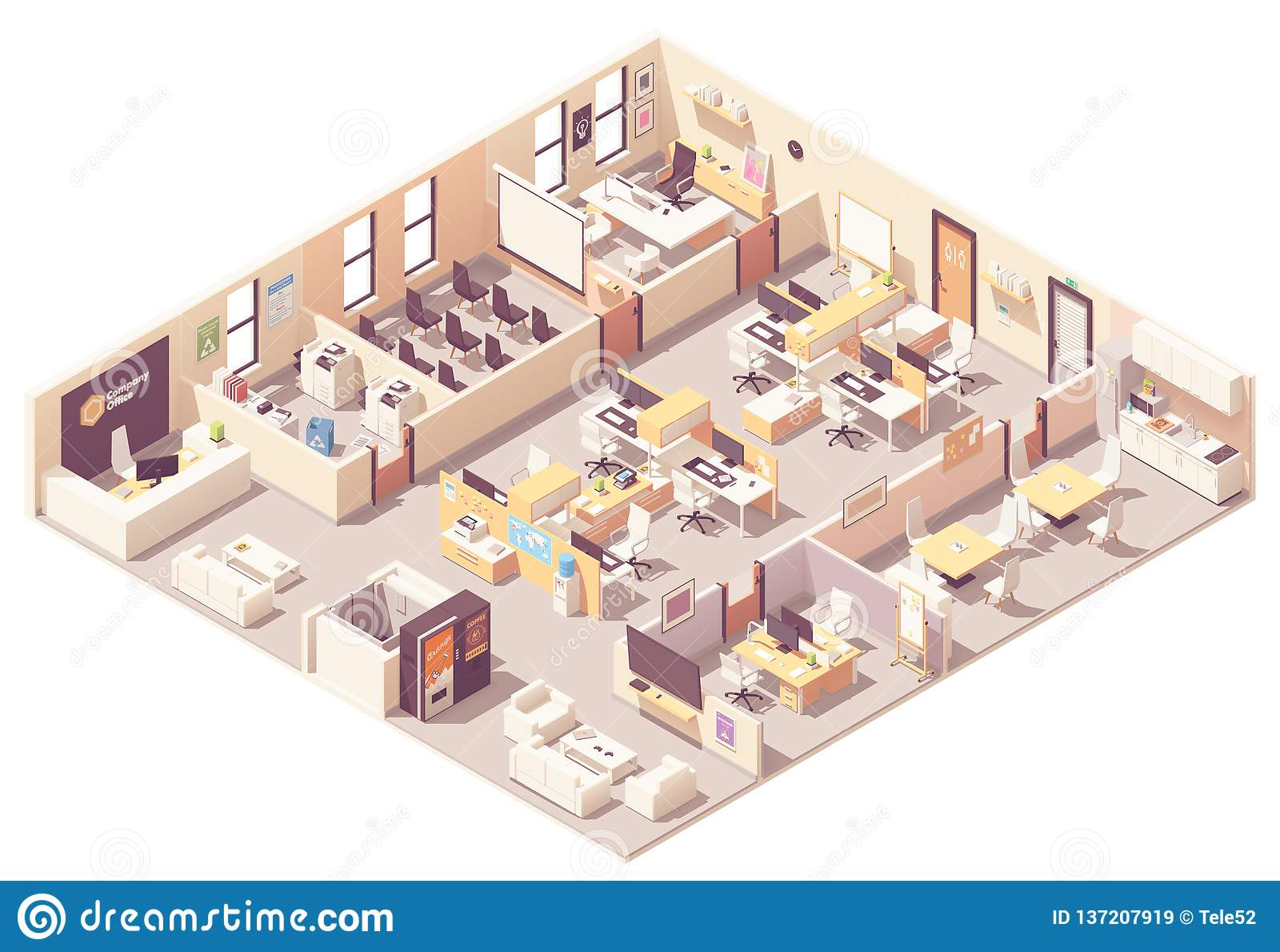 Plan för isometriskt kontor för vektor inre