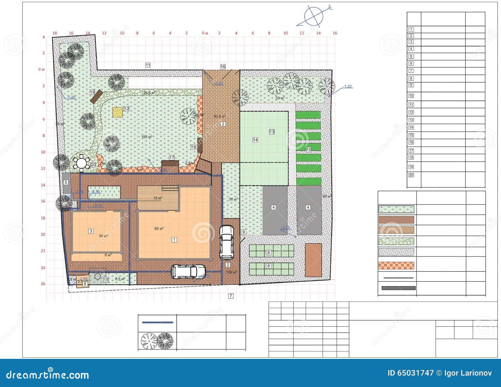 Plan Of Garden Land Stock Illustration Image 65031747