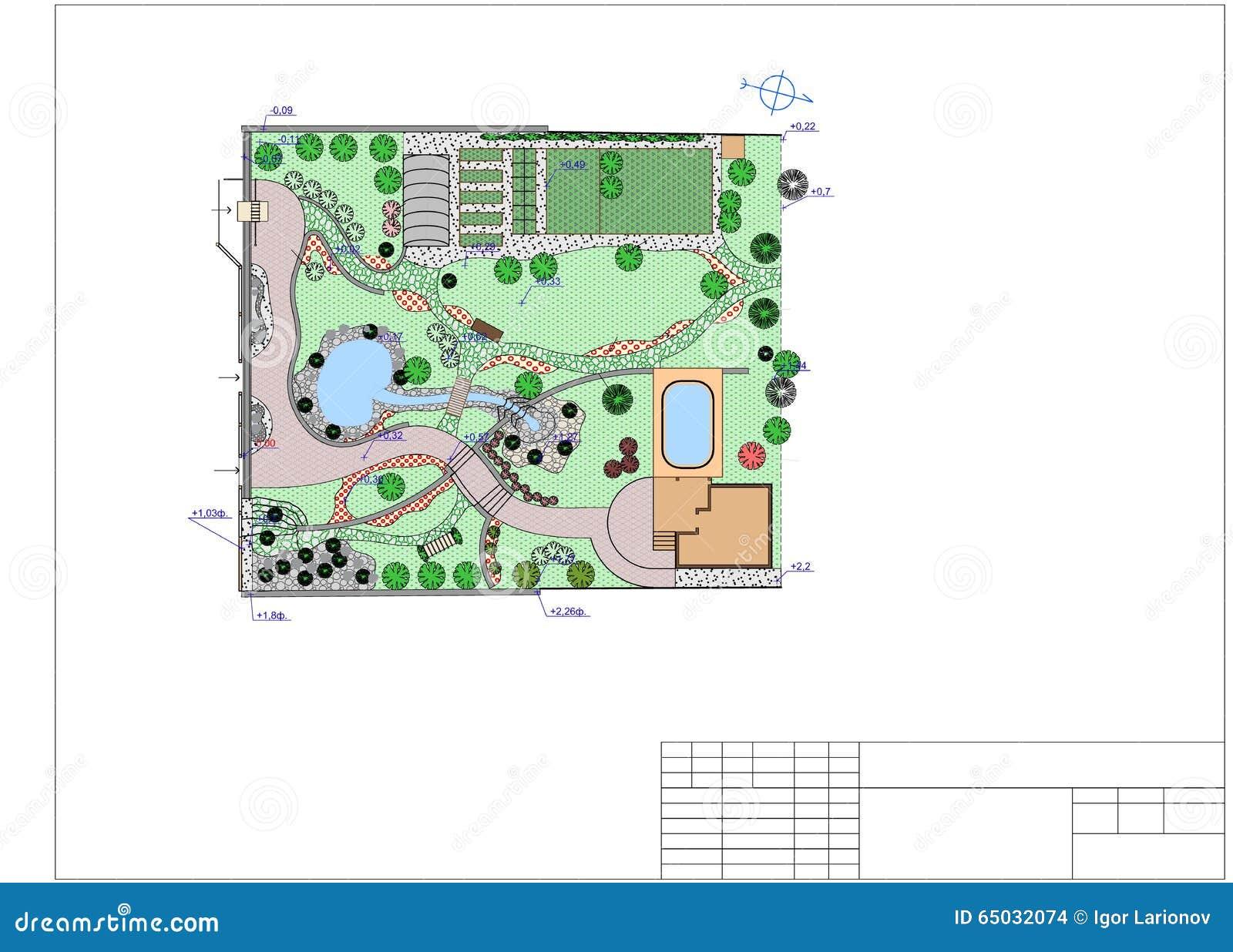 Plan of garden land stock illustration image 65032074 for Chinese landscape design