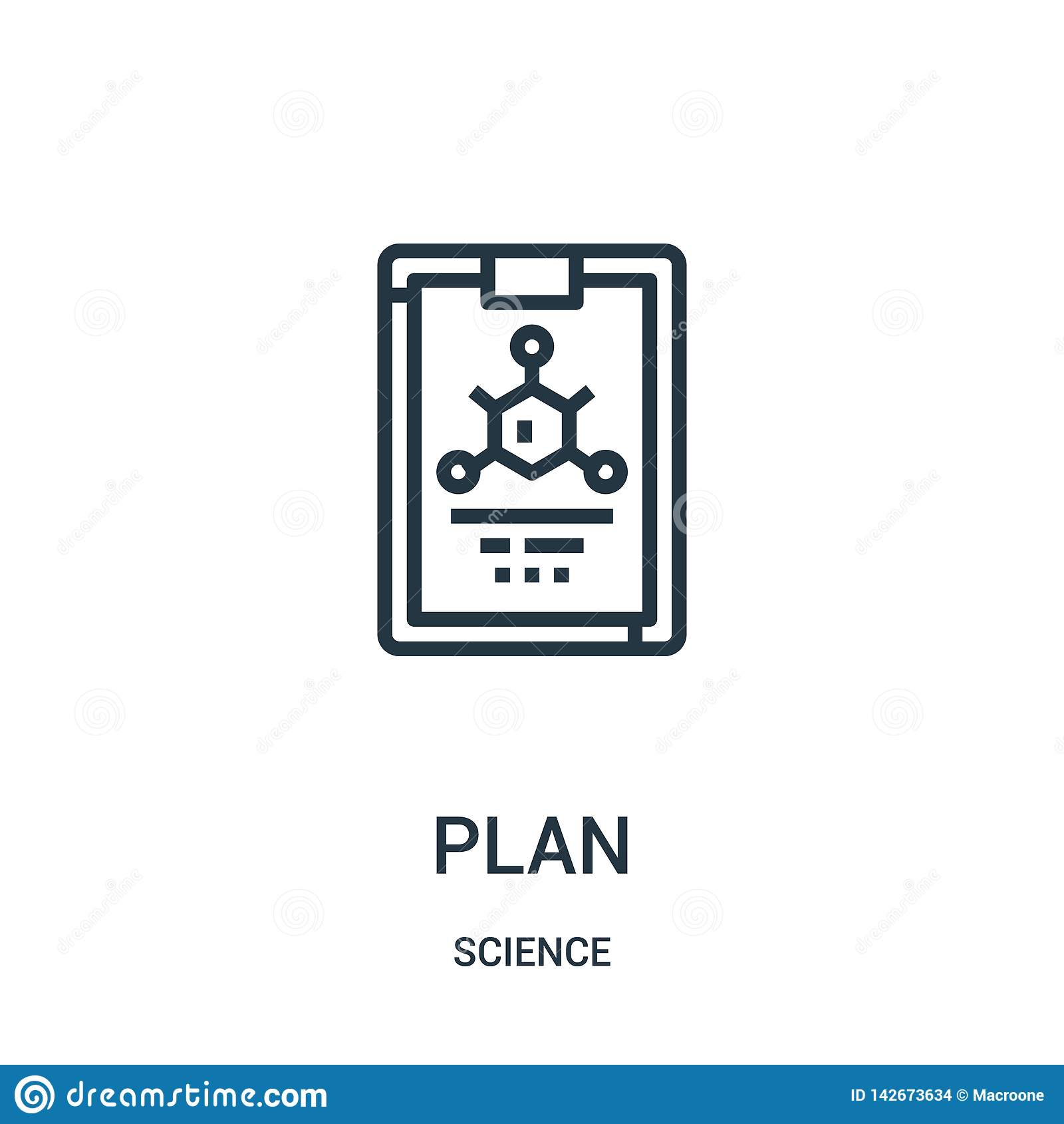 plan icon vector from science collection. Thin line plan outline icon vector illustration. Linear symbol for use on web and mobile