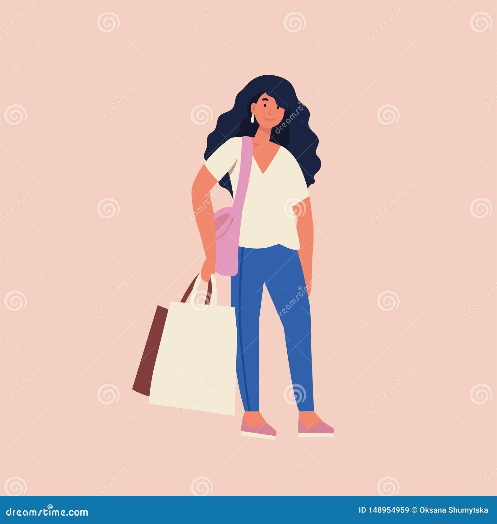 Plan illustration för vektor av den härliga yong kvinnan med shoppingpåsar Stor Sale dag