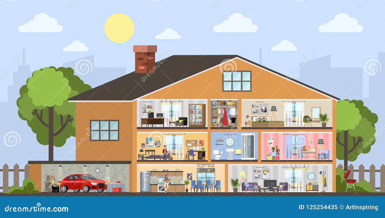 Plan intérieur de construction de logements avec le garage