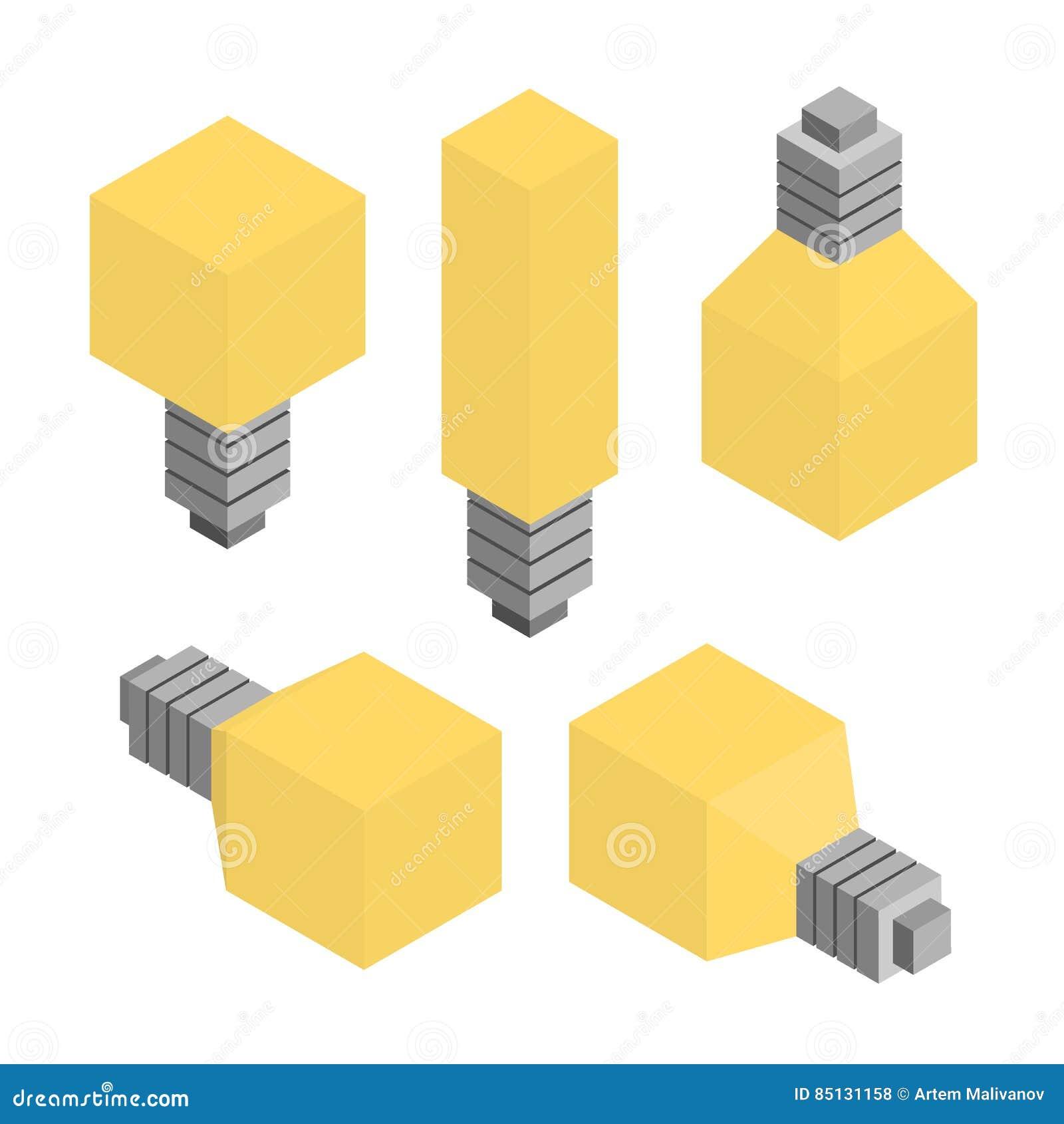 Plan isometrisk kulalampuppsättning vektor