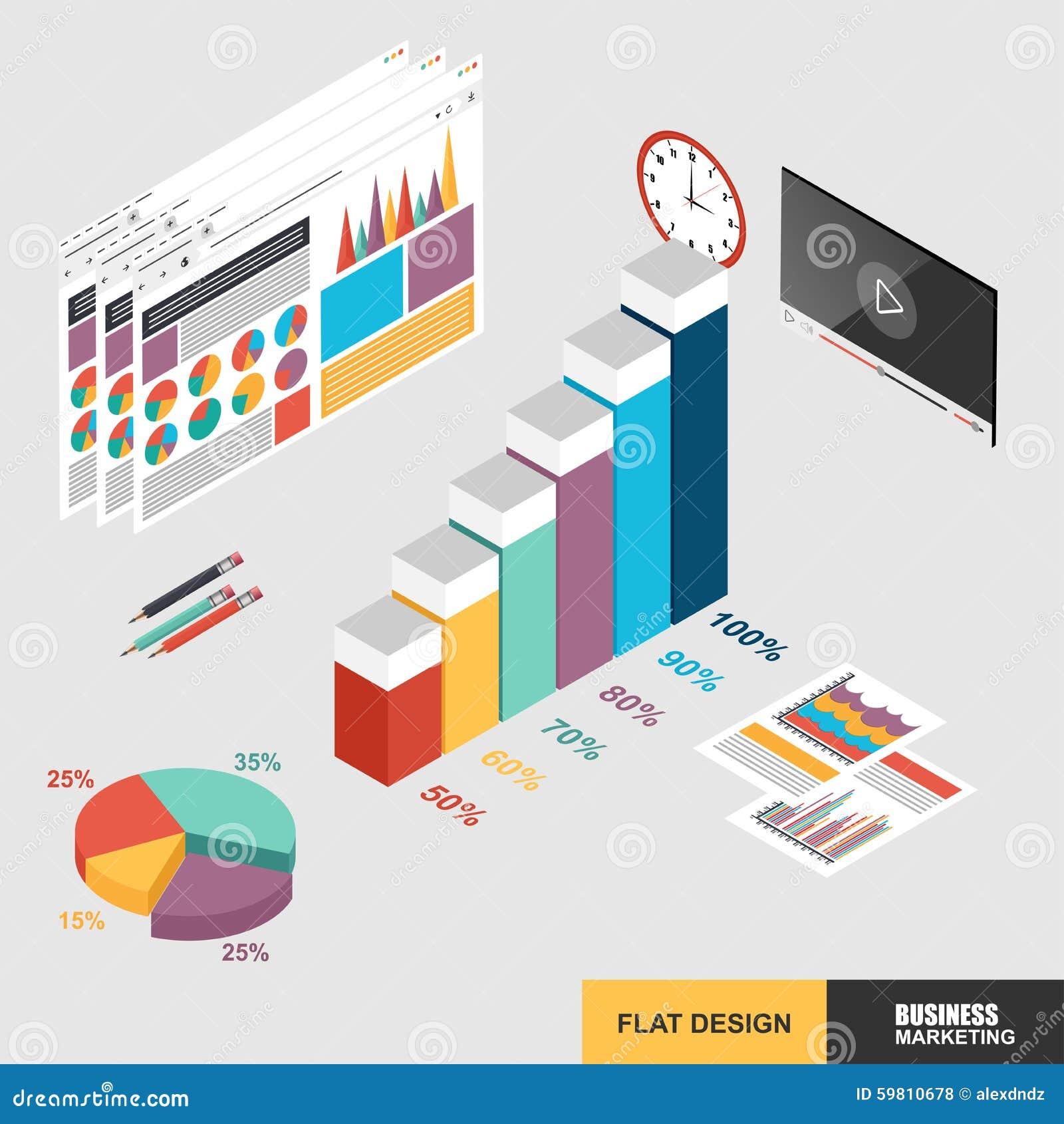 Plan isometrisk marknadsföring för rengöringsduk för begrepp för design 3d för dataanalys