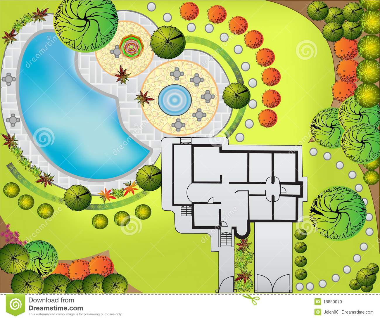 Plan of landscape and garden stock photo image 18880070 for Garden landscape drawing