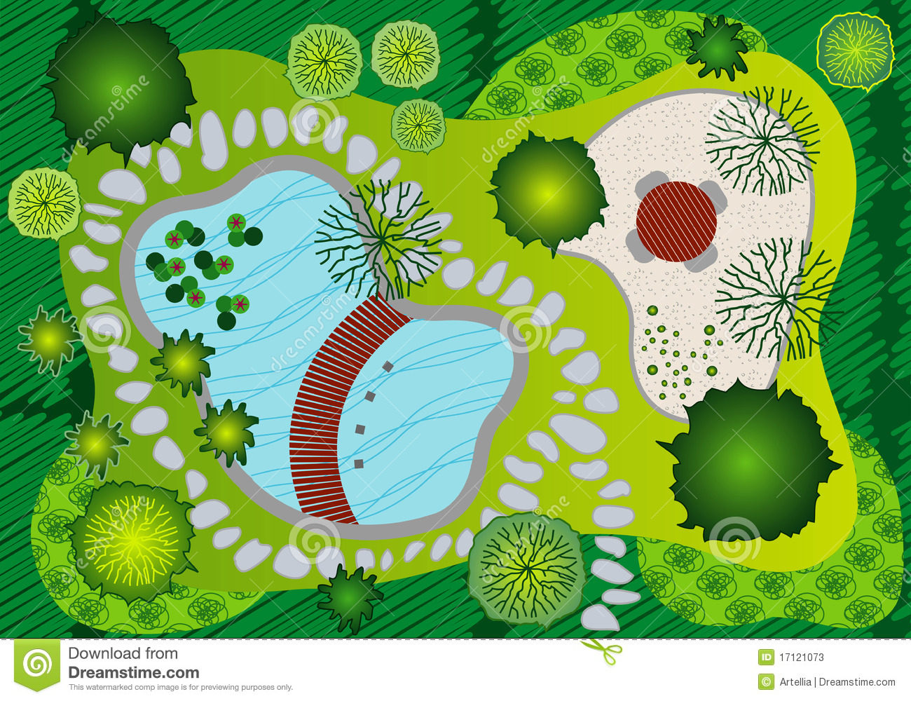 Plan Landscape And Garden Design Stock Vector Image