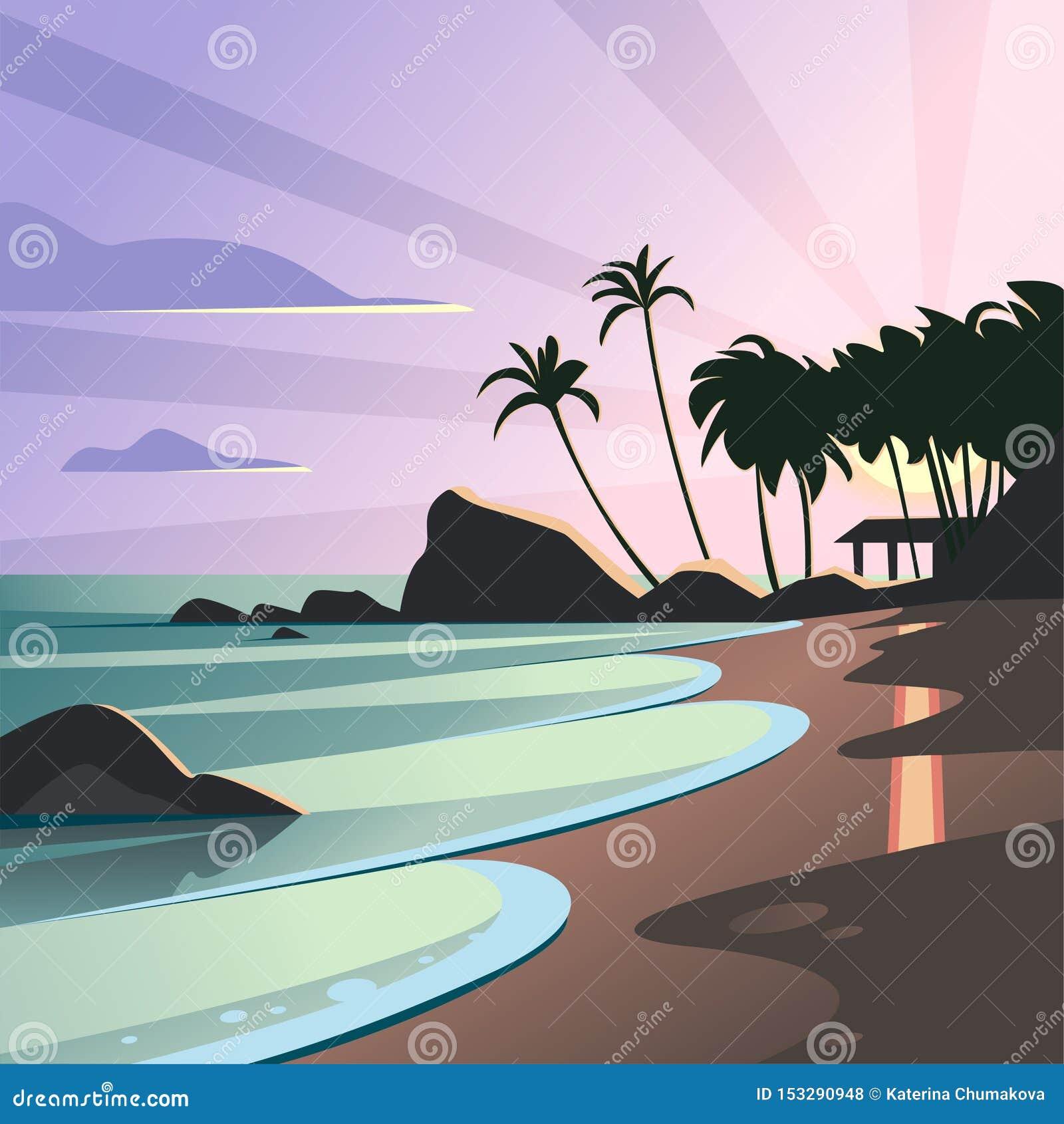 Plan landskapillustration för vektor av den lösa natursommarsolnedgången på strandsikt med himmel, havskust, hav, palmträd