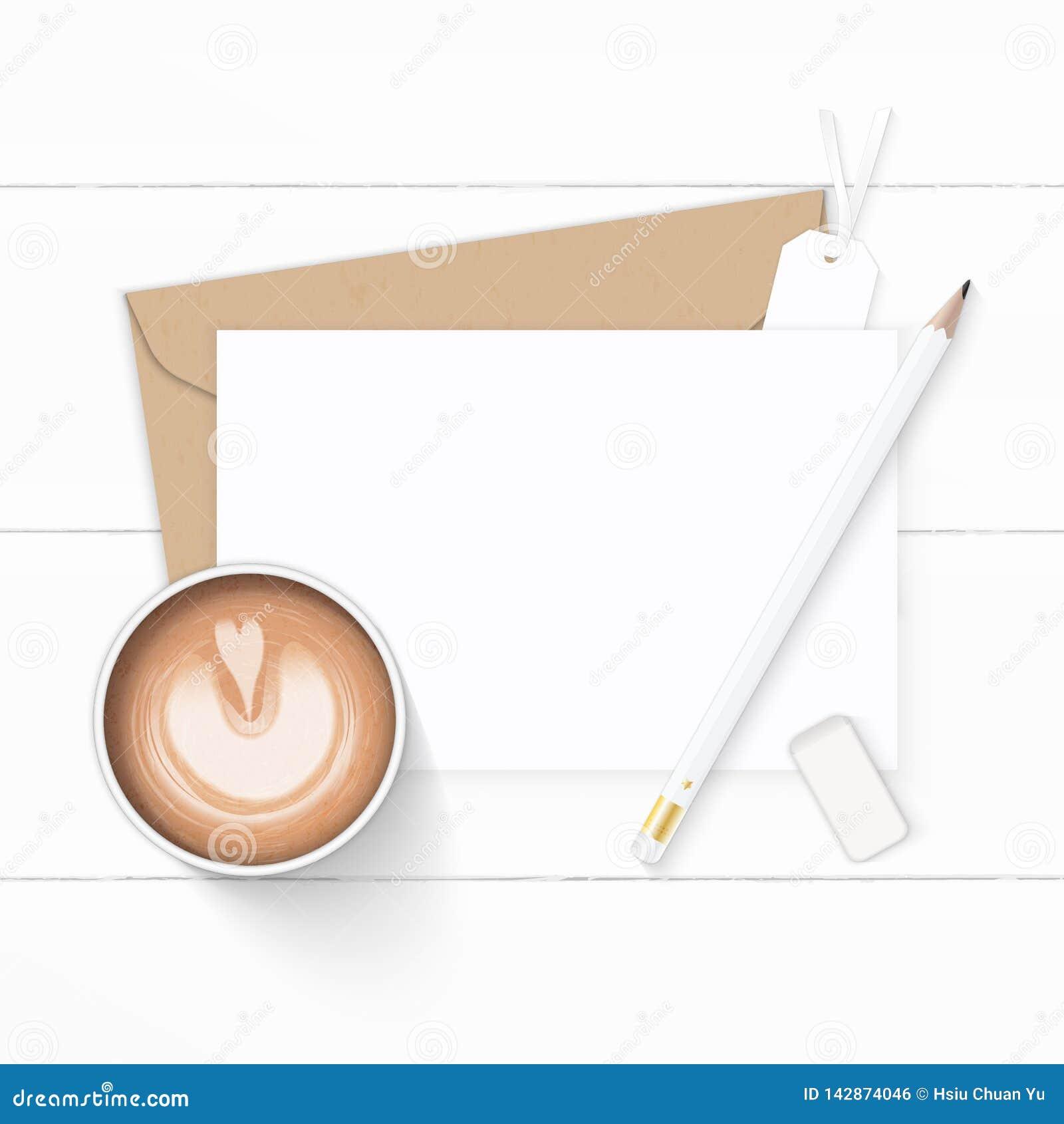 Plan lekmanna- för sammansättningsbokstav för bästa sikt elegant vit för kraft kaffe och etikett för radergummi för blyertspenna