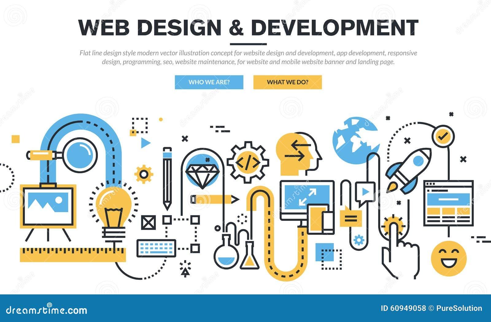Plan linje begrepp för designvektorillustration för websitedesign och utveckling