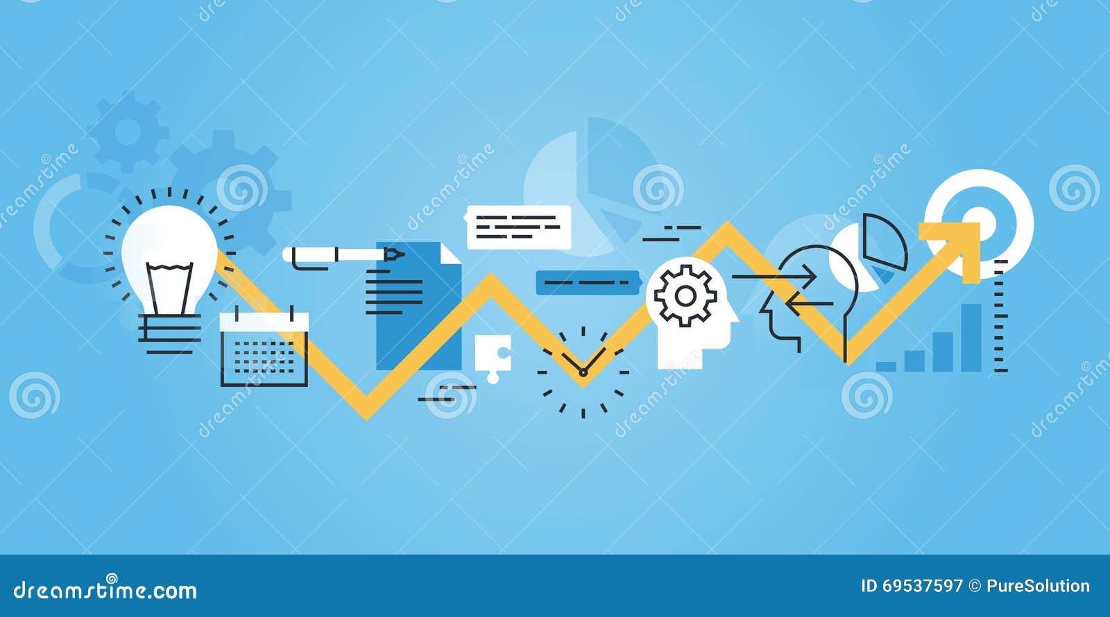 Plan linje designwebsitebaner av utvecklingsprocessen, från idé till förverkligande