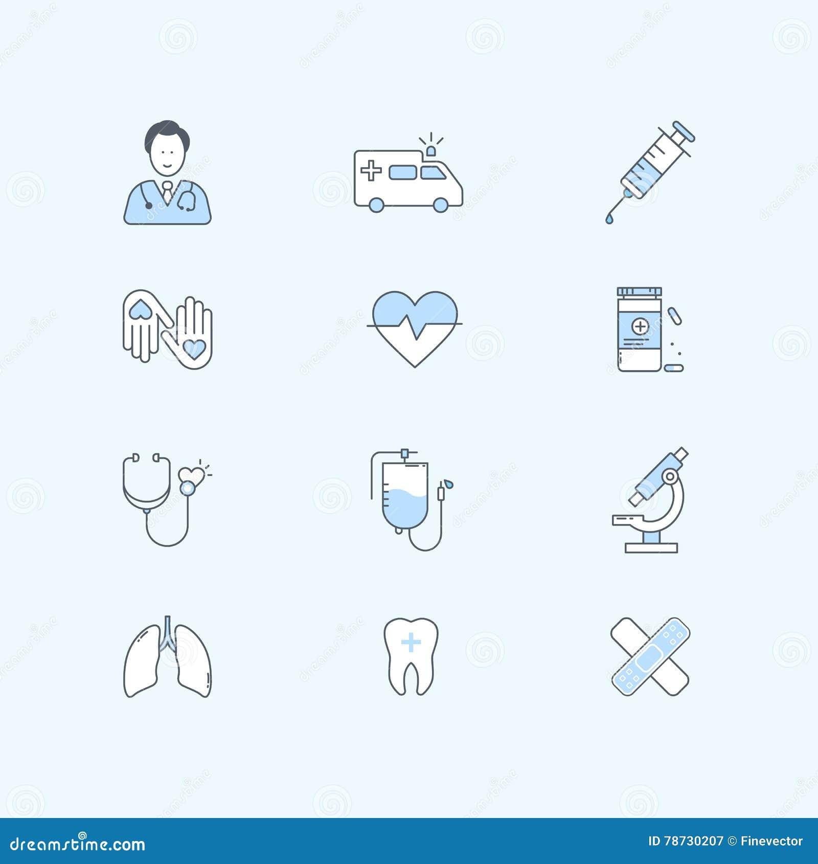 Plan linje symbolsuppsättning av sjukvården, medicin och medicinsk utrustning