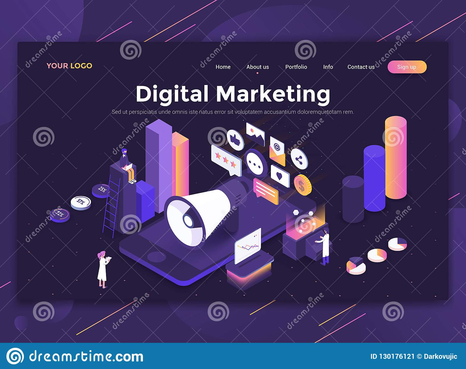 Plan modern design av websitemallen - Digital marknadsföring
