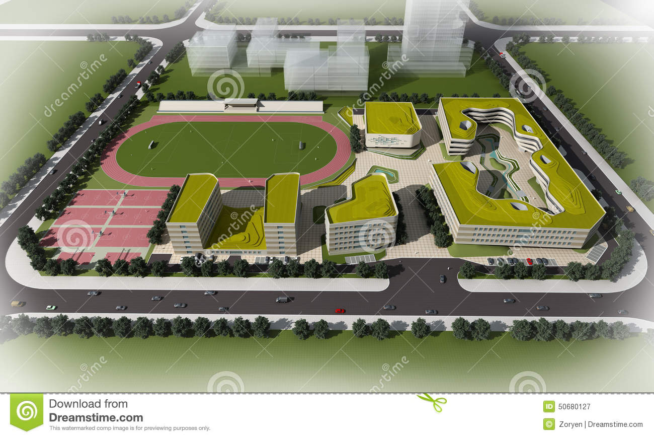 Illustrated 3d aerial view of a modern school with a sports field and ...