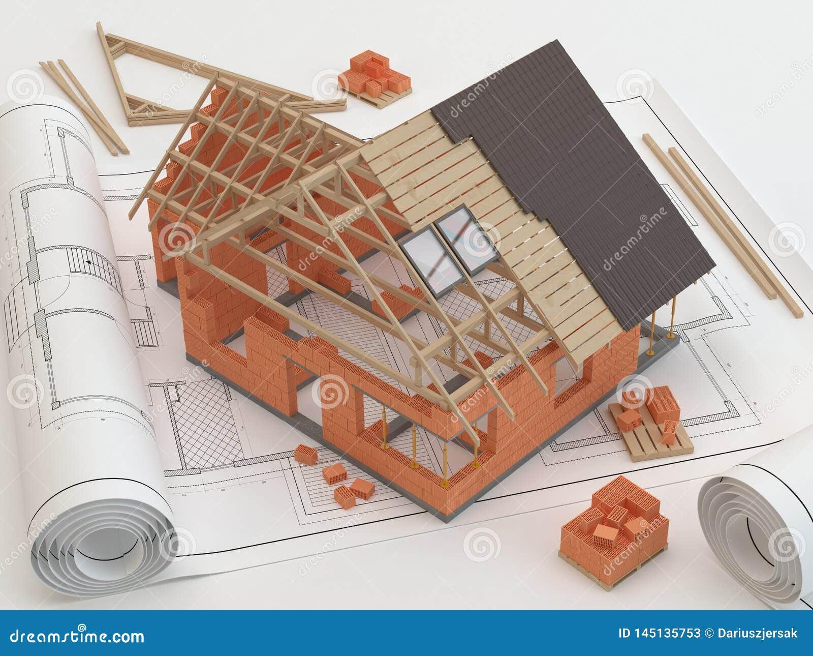Plan och hus, illustration 3D