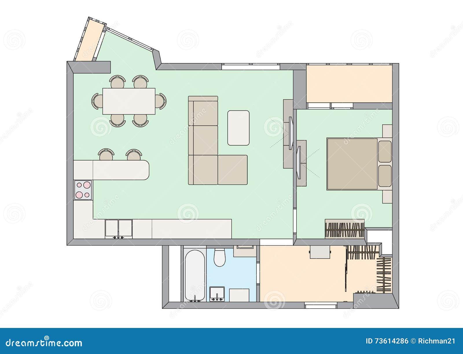 Plan One Bedroom Apartment Stock Vector Illustration Of Bathroom 73614286