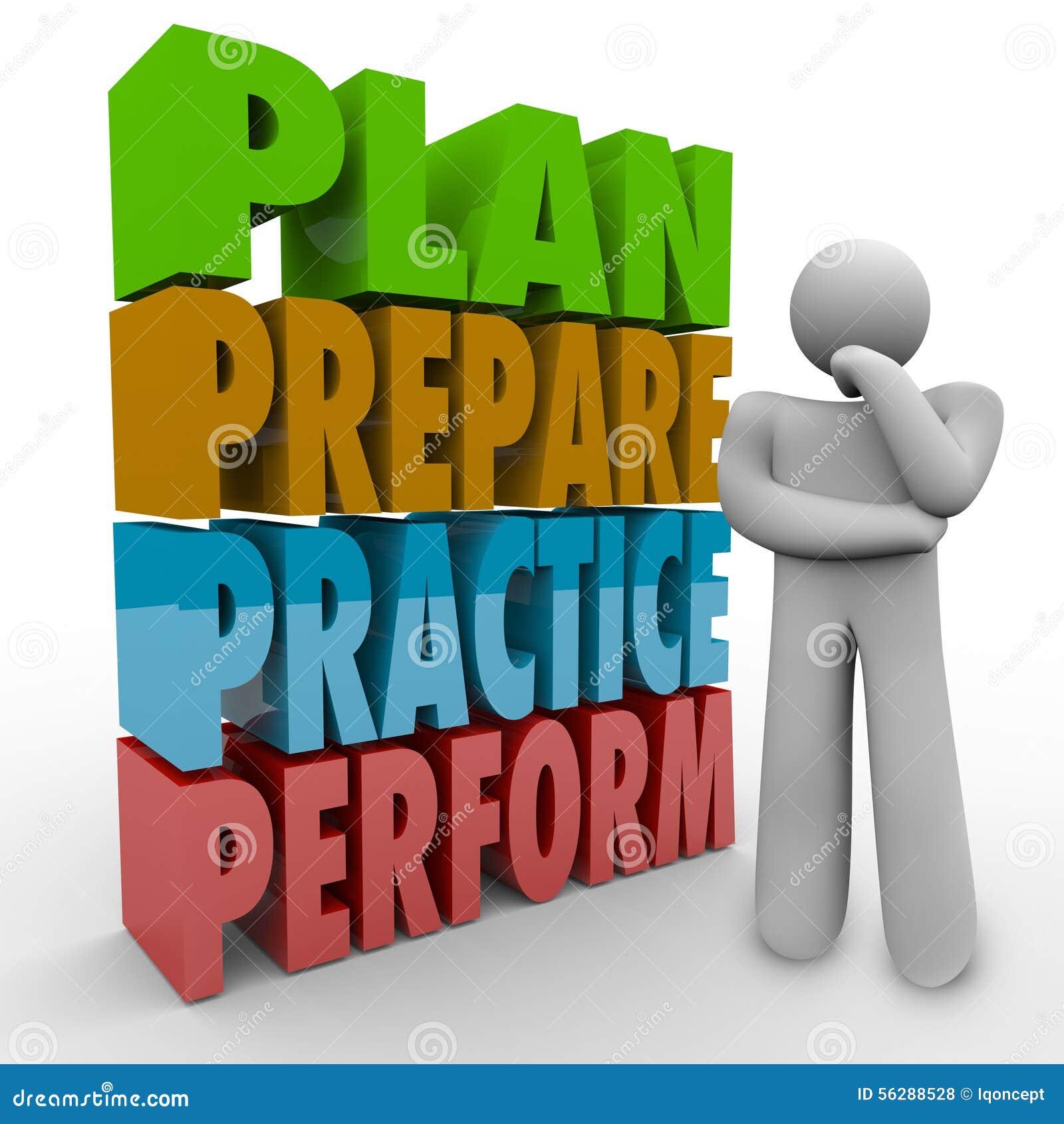 Plan Prepare Practice Perform Thinking Person Strategy Idea Stock Illustration Image 56288528