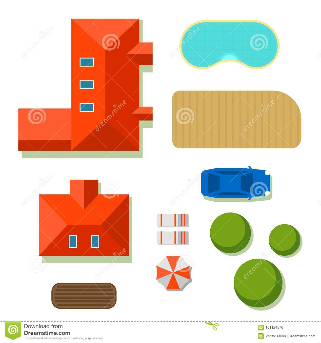 Plan Of Private House Vector Illustration Top View Of