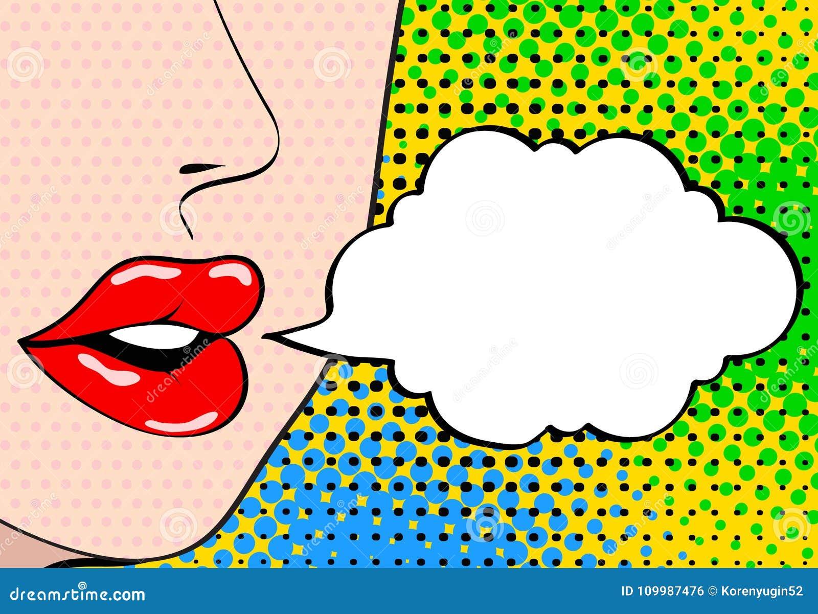 Plan rapproché de bouche femelle ouverte sexy avec le rouge à lèvres rose criant a