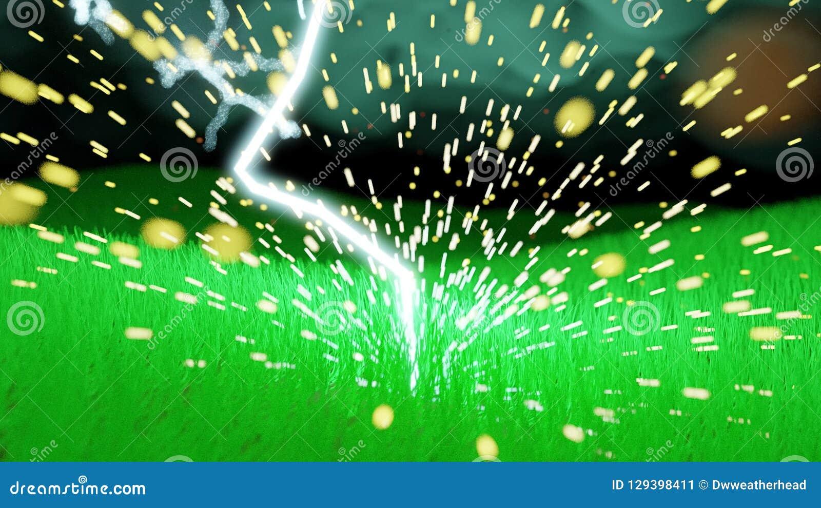 Plan rapproché de boulon de foudre heurtant un champ herbeux