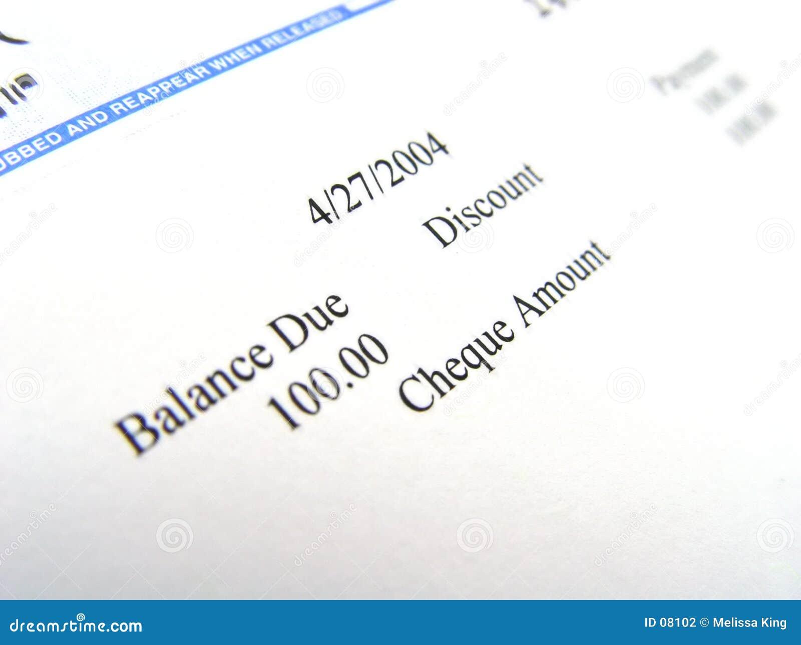 Plan rapproché de chèque